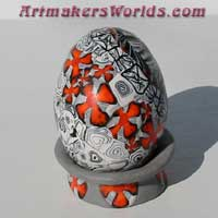Egg black white orange