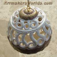 Filigree polymer clay egg