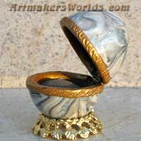 Hinged polymer clay granite egg