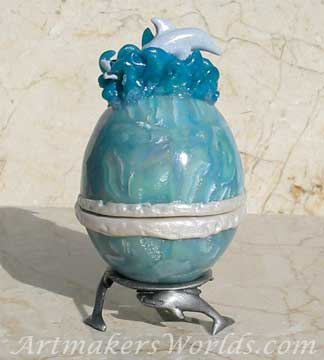 Hinged polymer clay egg with dolphin